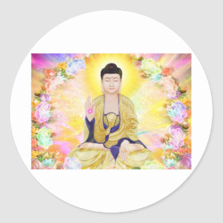Buddha Surrounded by Flowers Classic Round Sticker