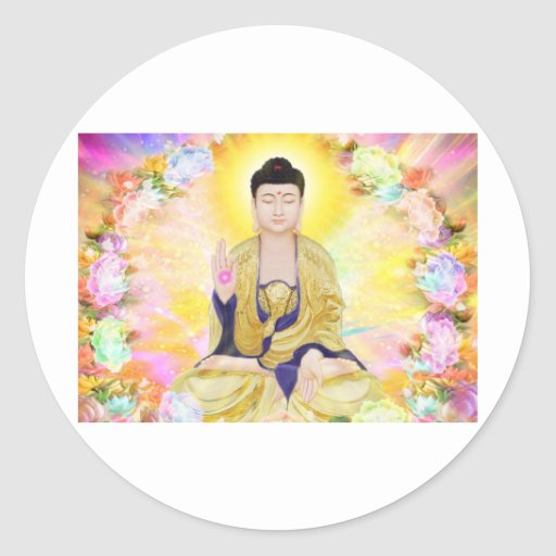 Buddha Surrounded by Flowers Round Stickers
