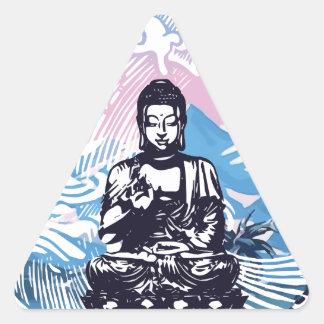 Buddha Tropical Mountain Wave Triangle Sticker