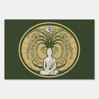 Buddha Under the Bodhi Tree Lawn Sign