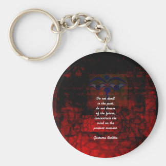 Buddha Uplifting Quote Don't Dwell In The Past Keychain