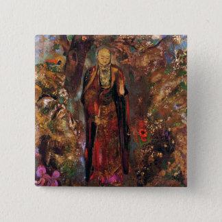 Buddha Walking Among the Flowers Button