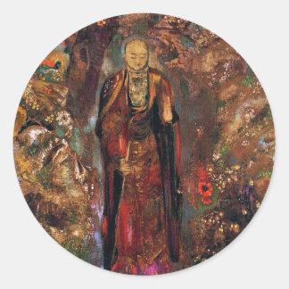 Buddha Walking Among the Flowers Classic Round Sticker