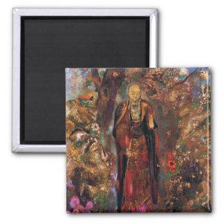 Buddha Walking Among the Flowers Magnets