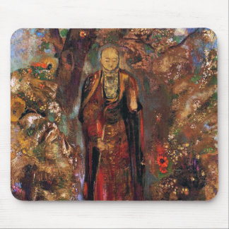 Buddha Walking Among the Flowers Mouse Pad