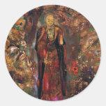 Buddha Walking Among the Flowers Round Sticker