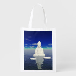 buddha white and two steps grocery bag