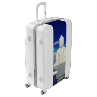 buddha white and two steps luggage