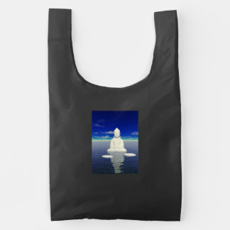 buddha white and two steps reusable bag