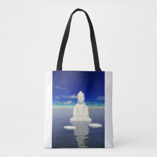 buddha white and two steps tote bag