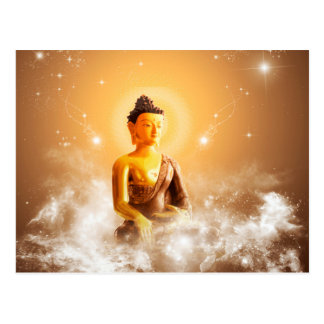 Buddha with clouds and stars postcard