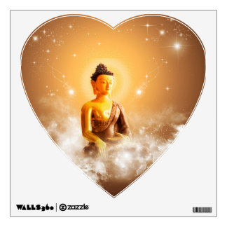 Buddha with clouds and stars wall sticker
