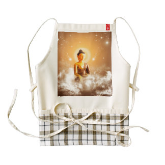 Buddha with clouds and stars zazzle HEART apron