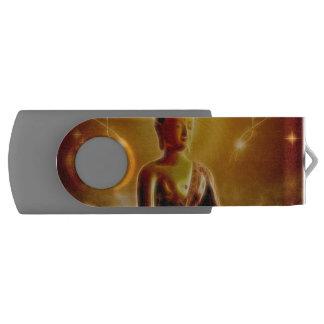 Buddha with glowing light flash drive