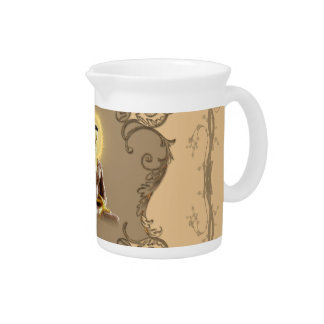Buddha with mystical light  and floral elements drink pitcher