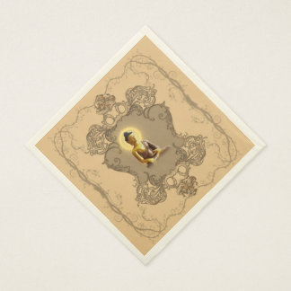 Buddha with mystical light  and floral elements napkin