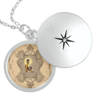 Buddha with mystical light sterling silver necklace