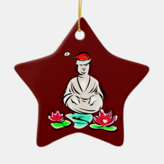 Buddha with Santa hat Double-Sided Star Ceramic Christmas Ornament