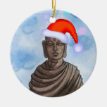 Buddha with Santa hat II Double-Sided Ceramic Round Christmas Ornament
