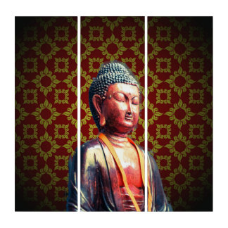 Buddha with Vintage Background Triptych