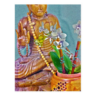 Buddha with White Orchids Postcard