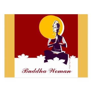 Buddha woman, yoga posture postcard