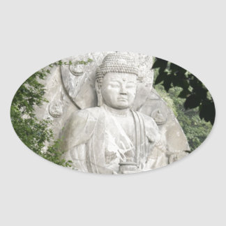 Buddha Worship Oval Sticker