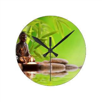 buddha zen serenity garden round wall clock