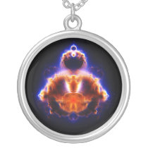 Buddhabrot Map Mandelbrot Set Gautama Buddha Silver Plated Necklace