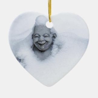 buddhainsnow.jpg Double-Sided heart ceramic christmas ornament