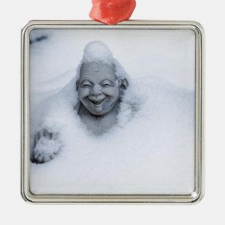 buddhainsnow.jpg square metal christmas ornament