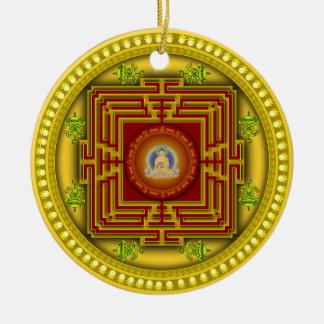 Buddha's Golden Puzzle Box Circular Mandala Design Ceramic Ornament