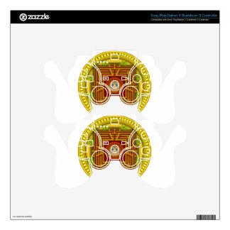 Buddha's Golden Puzzle Box Circular Mandala Design Decal For PS3 Controller