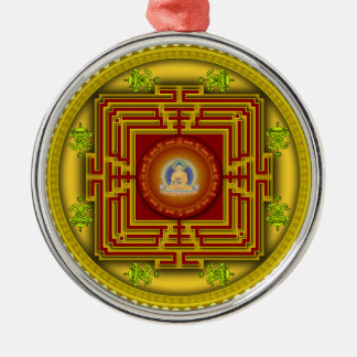 Buddha's Golden Puzzle Box Circular Mandala Design Metal Ornament