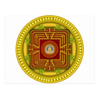 Buddha's Golden Puzzle Box Circular Mandala Design Postcard