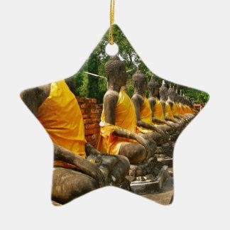 Buddhas tailandés adorno de cerámica en forma de estrella