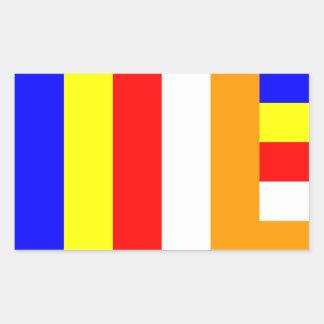 Buddhism - bandera budista pegatina rectangular
