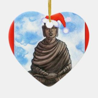 Buddhism - Buddha - Merry Christmas Hat Ceramic Ornament