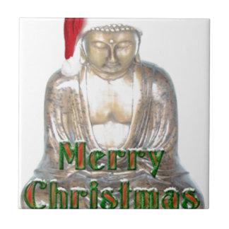 Buddhism - Buddha - Merry Christmas Hat Ceramic Tile