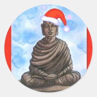 Buddhism - Buddha - Merry Christmas Hat Classic Round Sticker