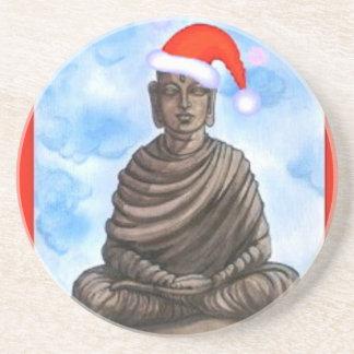 Buddhism - Buddha - Merry Christmas Hat Drink Coaster