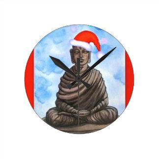 Buddhism - Buddha - Merry Christmas Hat Round Clock