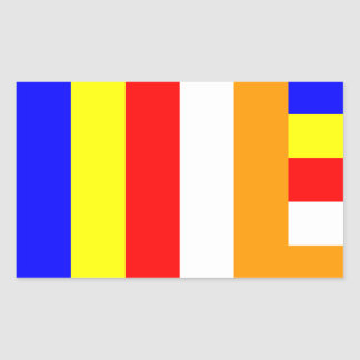 Buddhism - Buddhist Flag Rectangular Sticker