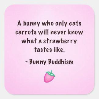 "Buddhism del conejito ""gusto pegatinas de una pegatina cuadrada"