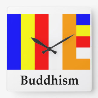 Buddhism Flag And Name Square Wallclock