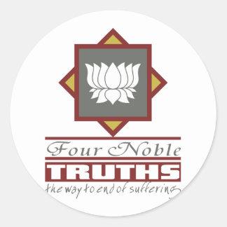 Buddhism Four Noble Truths Round Sticker