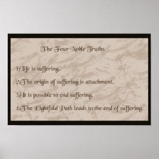 Buddhism noble de cuatro verdades póster