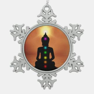 Buddhism Snowflake Pewter Christmas Ornament