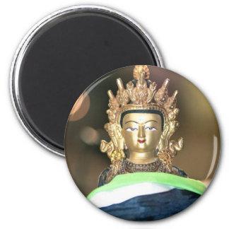Buddhist Chenrezig Statue 2 Inch Round Magnet