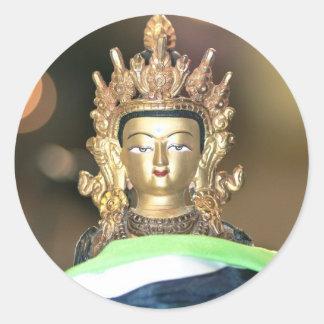 Buddhist Chenrezig Statue Classic Round Sticker